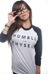 Adapt - Humble Thyself Women's Raglan Tee, White/Black - The Giant Peach