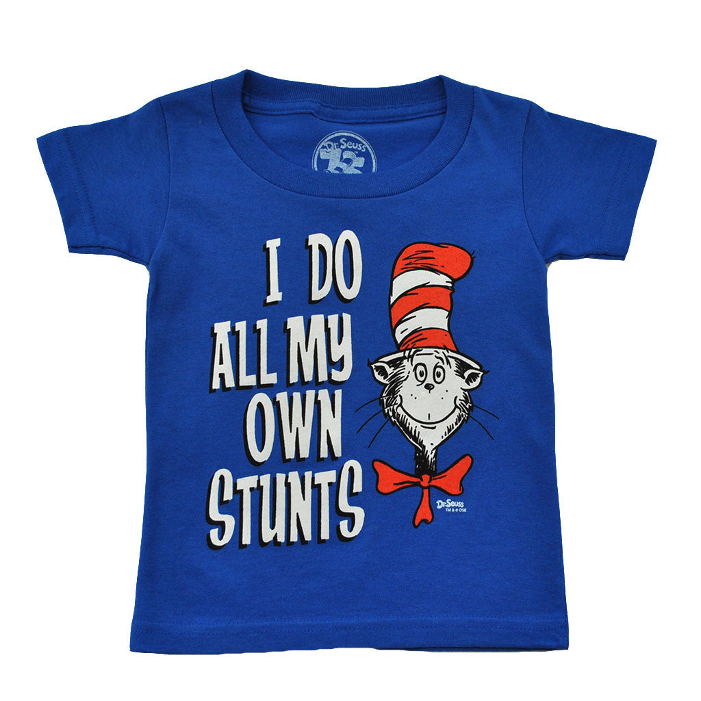 Dr. Seuss - Cat In The Hat Own Stunts Toddler Tee, Blue - The Giant Peach