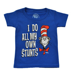 Dr. Seuss - Cat In The Hat Own Stunts Toddler Tee, Blue