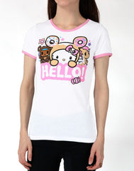 tokidoki x Hello Kitty Say Hello Women's Ringer Tee, White - The Giant Peach