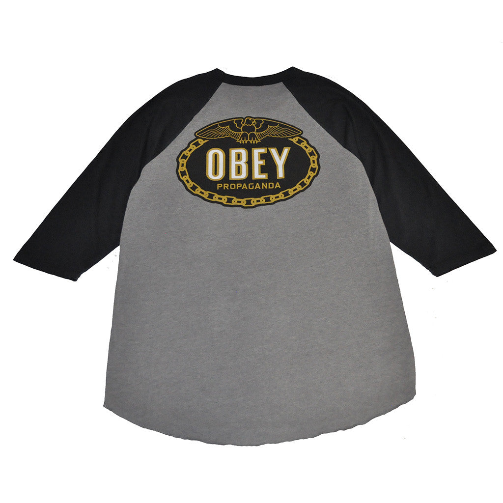 OBEY - Imperial Glory Eagle Men's Raglan, Charcoal/Black - The Giant Peach - 2
