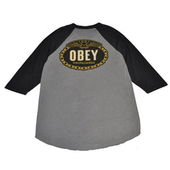 OBEY - Imperial Glory Eagle Men's Raglan, Charcoal/Black - The Giant Peach