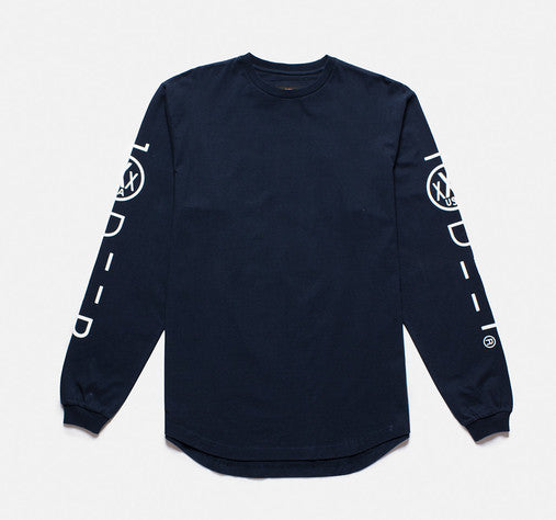 10Deep - Integral Scoop Tail Men's L/S Tee, Navy - The Giant Peach