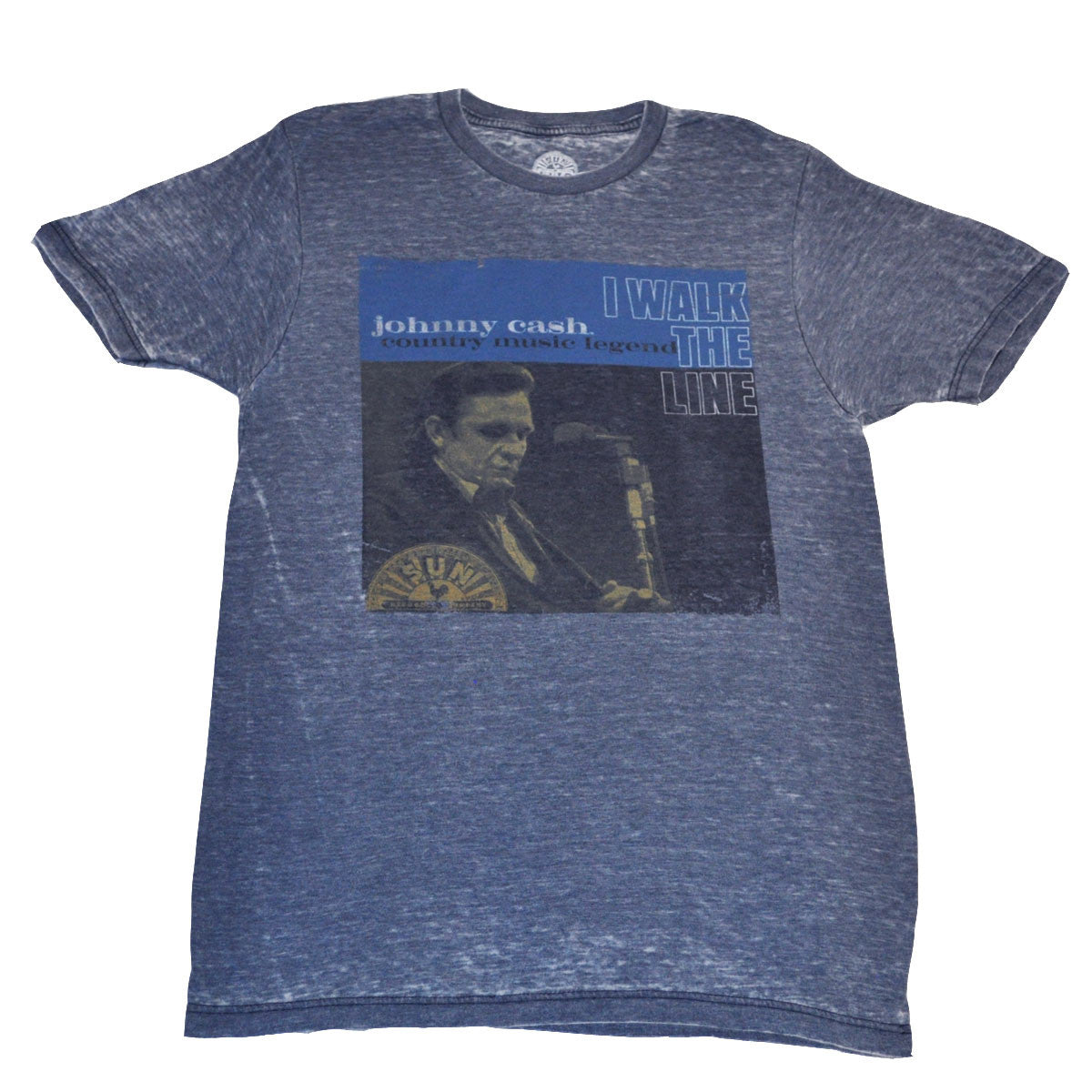 Johnny Cash - Walk The Line Men's Shirt, Heather Blue - The Giant Peach