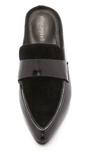 Jeffrey Campbell - Belan Mules, Black Suede/Black Box - The Giant Peach