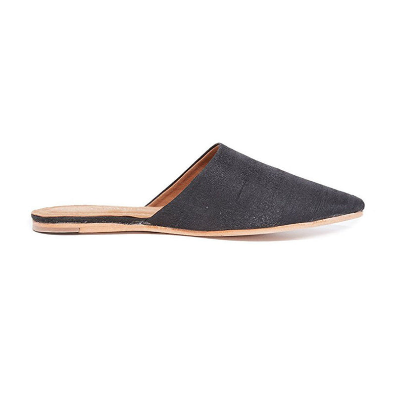 Jeffrey Campbell - Doshi Flat Mules, Black Silk - The Giant Peach