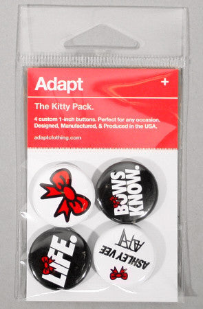 Adapt x Ashley Vee - The Kitty Pack Pin Pack, Black White & Red
