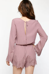 Lacey Bell Sleeve Women's Romper, Blush - The Giant Peach