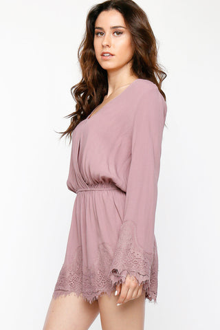 Lacey Bell Sleeve Women's Romper, Blush