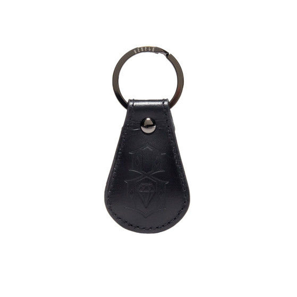 REBEL8 - Leather Logo Keychain, Black - The Giant Peach
