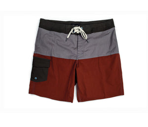 Brixton -  Leeward Men's Trunks, Charcoal/Burgundy - The Giant Peach