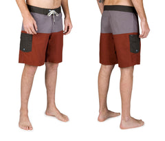 Brixton -  Leeward Men's Trunks, Charcoal/Burgundy - The Giant Peach - 2