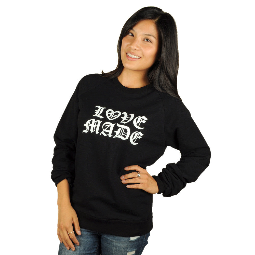Lovemade - Thug Made Women's Crewneck Sweatshirt, Black - The Giant Peach