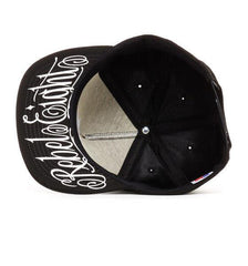 REBEL8 - Logo Script Snapback Hat, Black - The Giant Peach