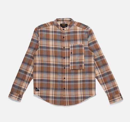 10Deep - Mandarin Button-Down Men's Flannel Shirt, Beige - The Giant Peach
