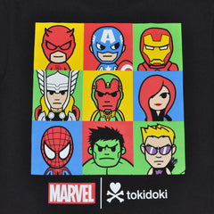 tokidoki TKDK - Marvel Lineup Men's Shirt, Black - The Giant Peach