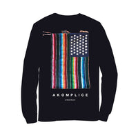 Akomplice x Nacho Becerra - Mi Bandera Men's L/S Tee, Black - The Giant Peach