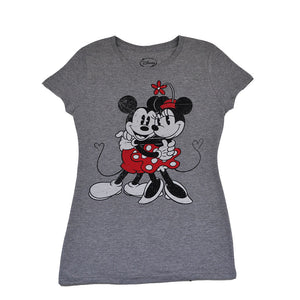 Mickey & Minnie Heart Hug Women's Tee, Heather Grey - The Giant Peach