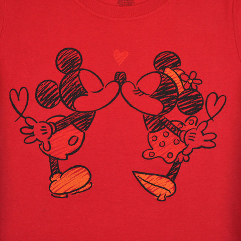 Mickey & Minnie The Smooch Women's Tee, Red
