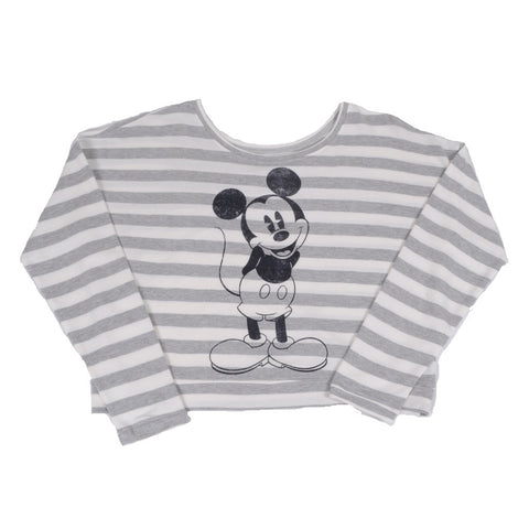 Mickey Women's Fleece Pullover, Grey/White