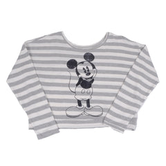 Mickey Women's Fleece Pullover, Grey/White - The Giant Peach