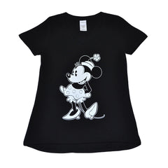 Minnie Women's V-Neck Tee, Black - The Giant Peach