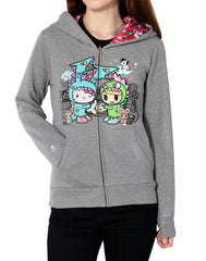 tokidoki x Hello Kitty - Monster Buds Women's Hoodie, Dark Heather Grey - The Giant Peach