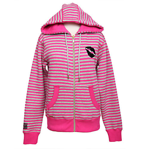 Married to the Mob - Candy Stripe Women's Zip Hoodie, Heather Grey/Pink - The Giant Peach
