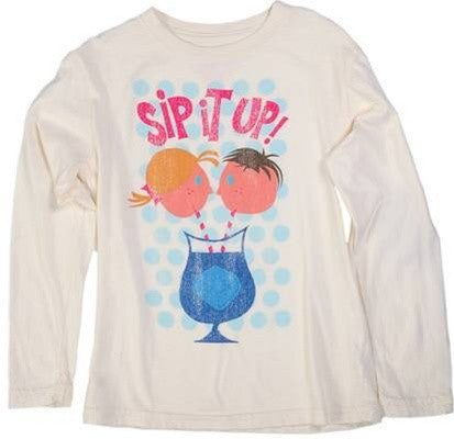 made U look - Sip It Up Infant & Toddler L/S Tee, Antique White - The Giant Peach