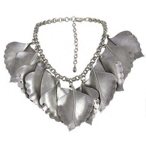 Tarina Tarantino - Crystallized Metal Leaf Necklace, Black Diamond - The Giant Peach
