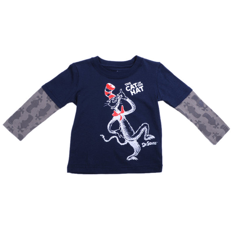 Dr. Seuss - Cat in the Hat L/S Infant's Shirt, Navy Multi - The Giant Peach