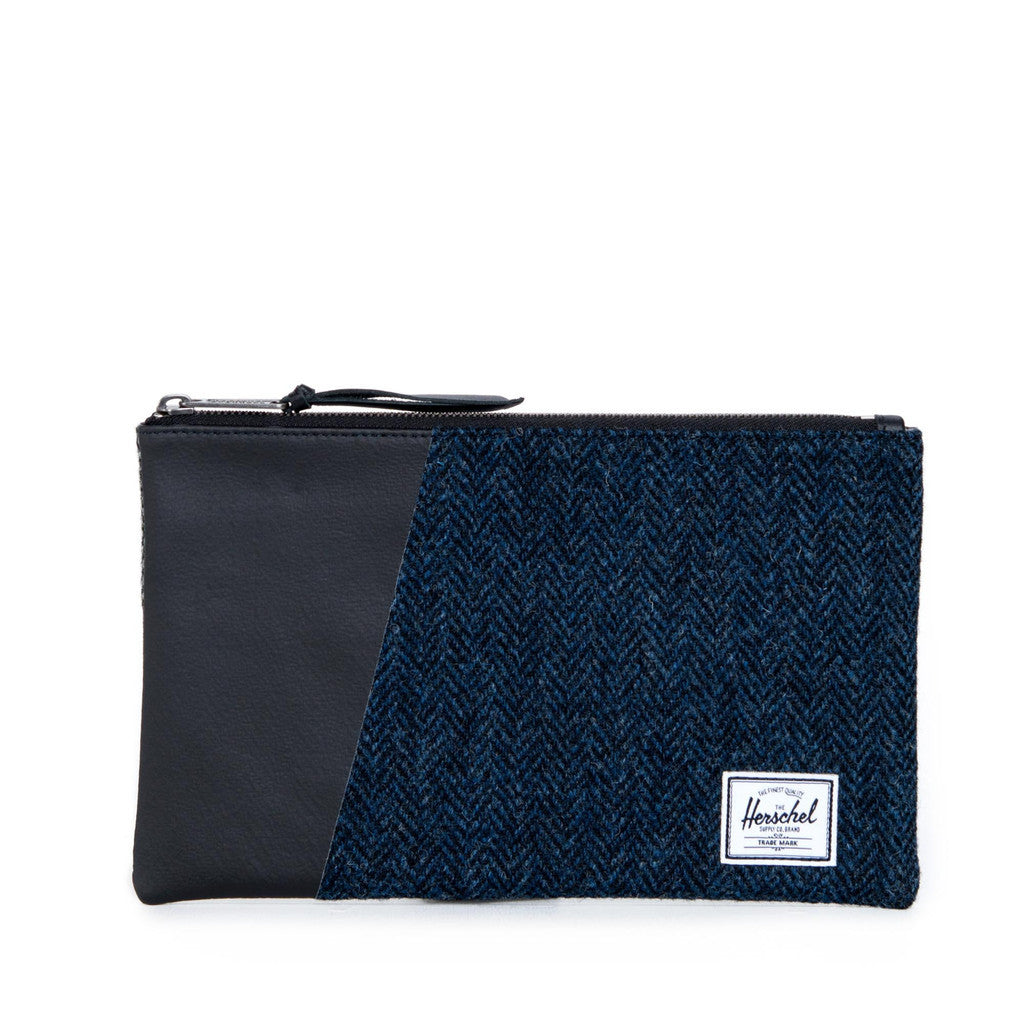 Herschel Supply Co - Network Tweed Herringbone Pouch (Medium), Black/Blue - The Giant Peach