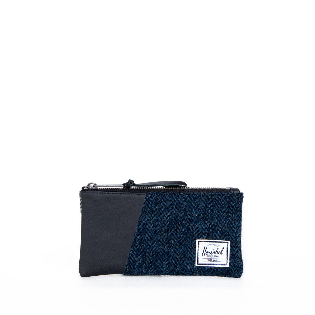 Herschel Supply Co - Network Harris Tweed Herringbone Pouch (Small), Black/Blue - The Giant Peach