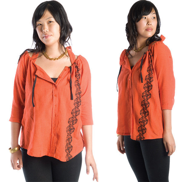 Nicacelly - Bobbin' Women's Top, Persimmon - The Giant Peach