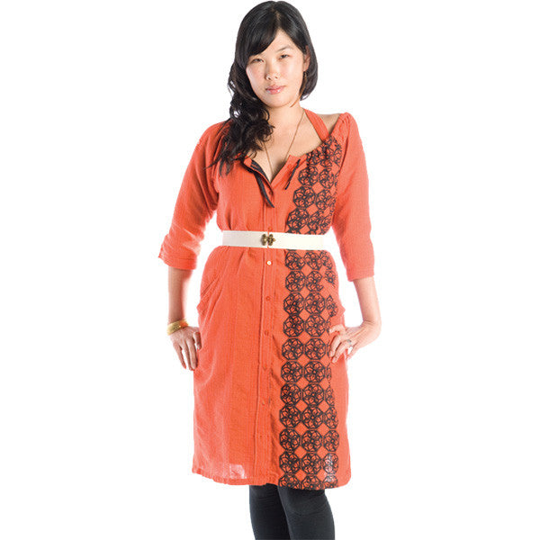 Nicacelly - Bobbin' Women's Dress, Persimmon - The Giant Peach