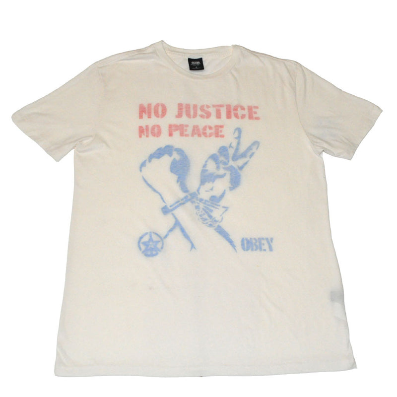 OBEY - No Justice No Peace Men's Shirt, Cream - The Giant Peach