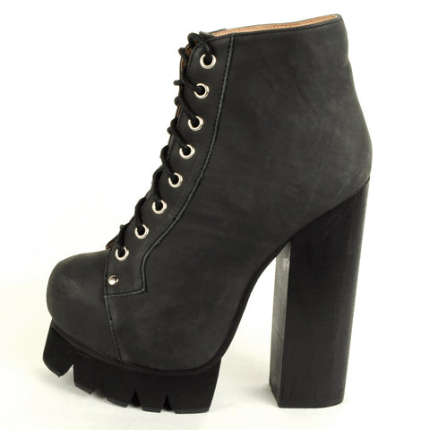 Jeffrey Campbell - Nola Lace Up Platform Boot, Black Washed