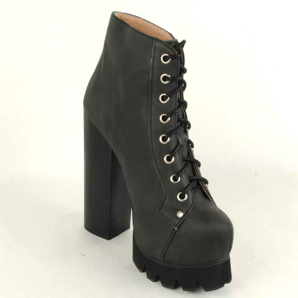 Jeffrey Campbell - Nola Lace Up Platform Boot, Black Washed - The Giant Peach - 3
