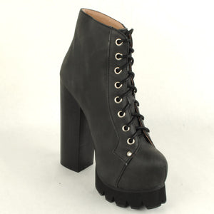 Jeffrey Campbell - Nola Lace Up Platform Boot, Black Washed - The Giant Peach