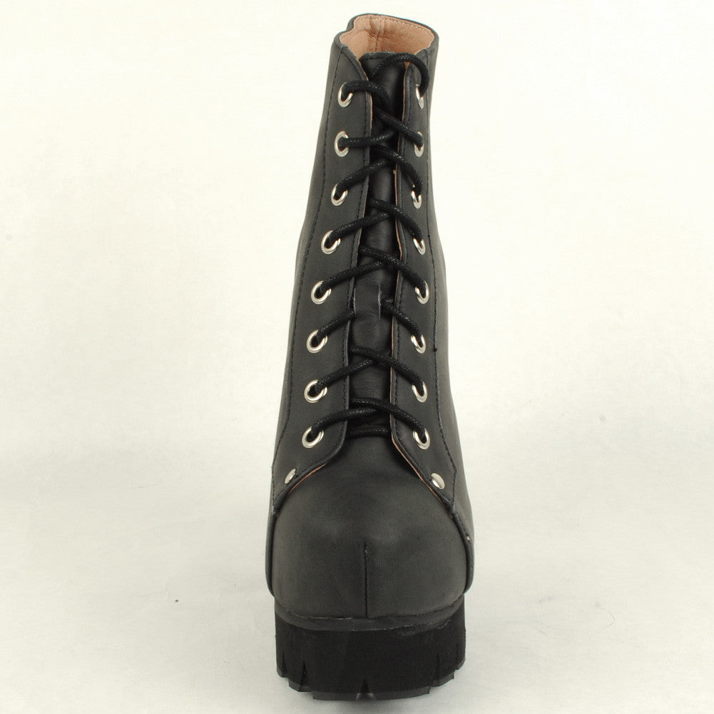 Jeffrey Campbell - Nola Lace Up Platform Boot, Black Washed - The Giant Peach - 4