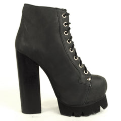 Jeffrey Campbell - Nola Lace Up Platform Boot, Black Washed - The Giant Peach - 1
