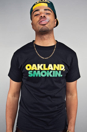 Adapt - Oakland Smokin' Men's Shirt, Black/Green/Yellow - The Giant Peach