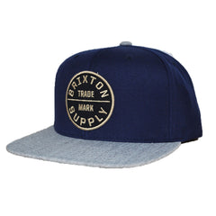 Brixton - Oath III Men's Snapback Hat, Navy/Light Heather Grey - The Giant Peach