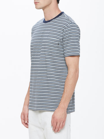 OBEY - Reno Stripe Men's Pocket Tee, Blue Multi