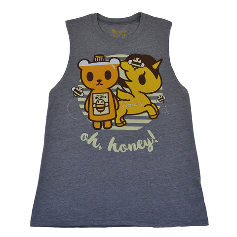 tokidoki - Oh Honey Women's Tank Top, Light Heather Grey