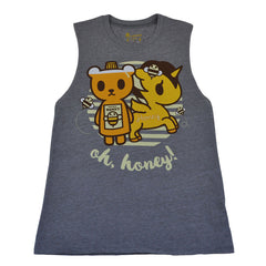 tokidoki - Oh Honey Women's Tank Top, Light Heather Grey - The Giant Peach