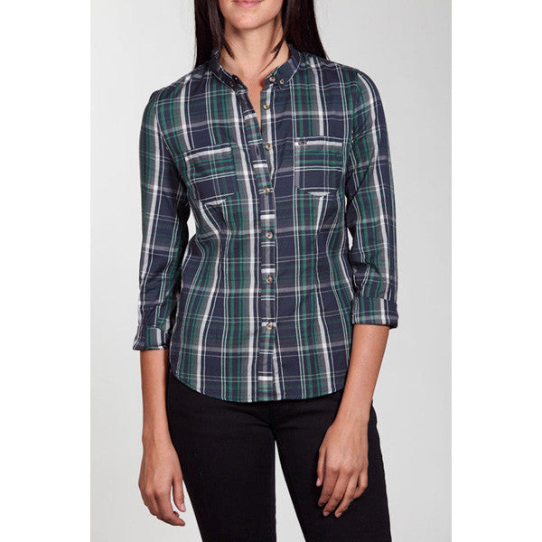 OBEY - Boardner L/S Buttoned-Down Women's Top, Green - The Giant Peach