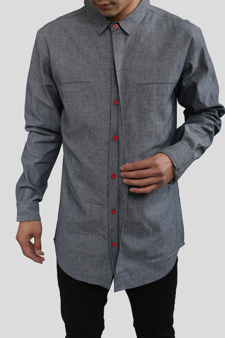 Akomplice VSOP - Patrick L/S Button Up Men's Shirt, Grey - The Giant Peach