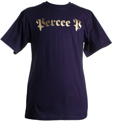 Percee P - Logo Men's Shirt, Navy/Gold Foil - The Giant Peach