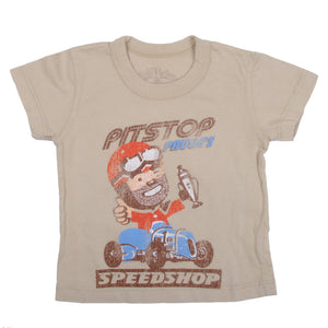 made U look - Pitstop Paulie Infant Tee, Tan - The Giant Peach